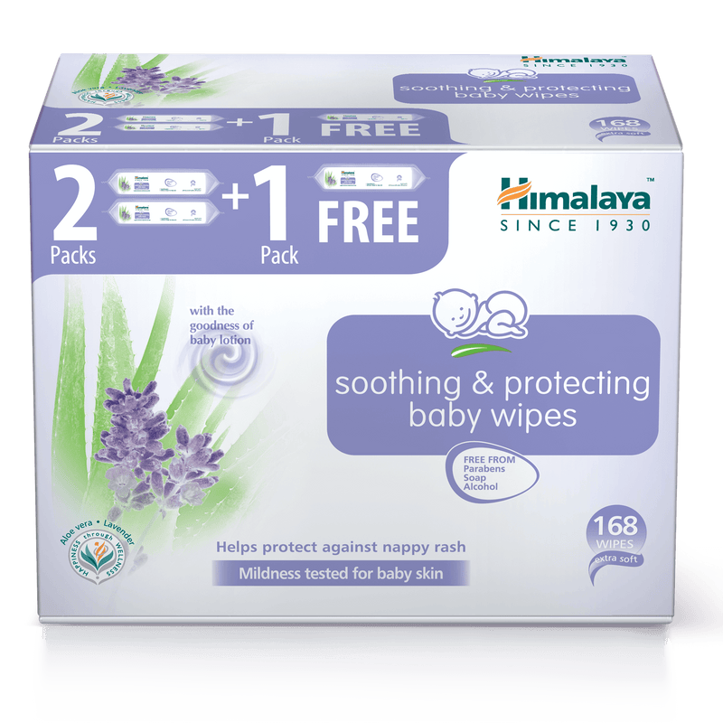 Soothing & Protecting wipes, Pack of 3 (2+1 Free) -168 Wipes