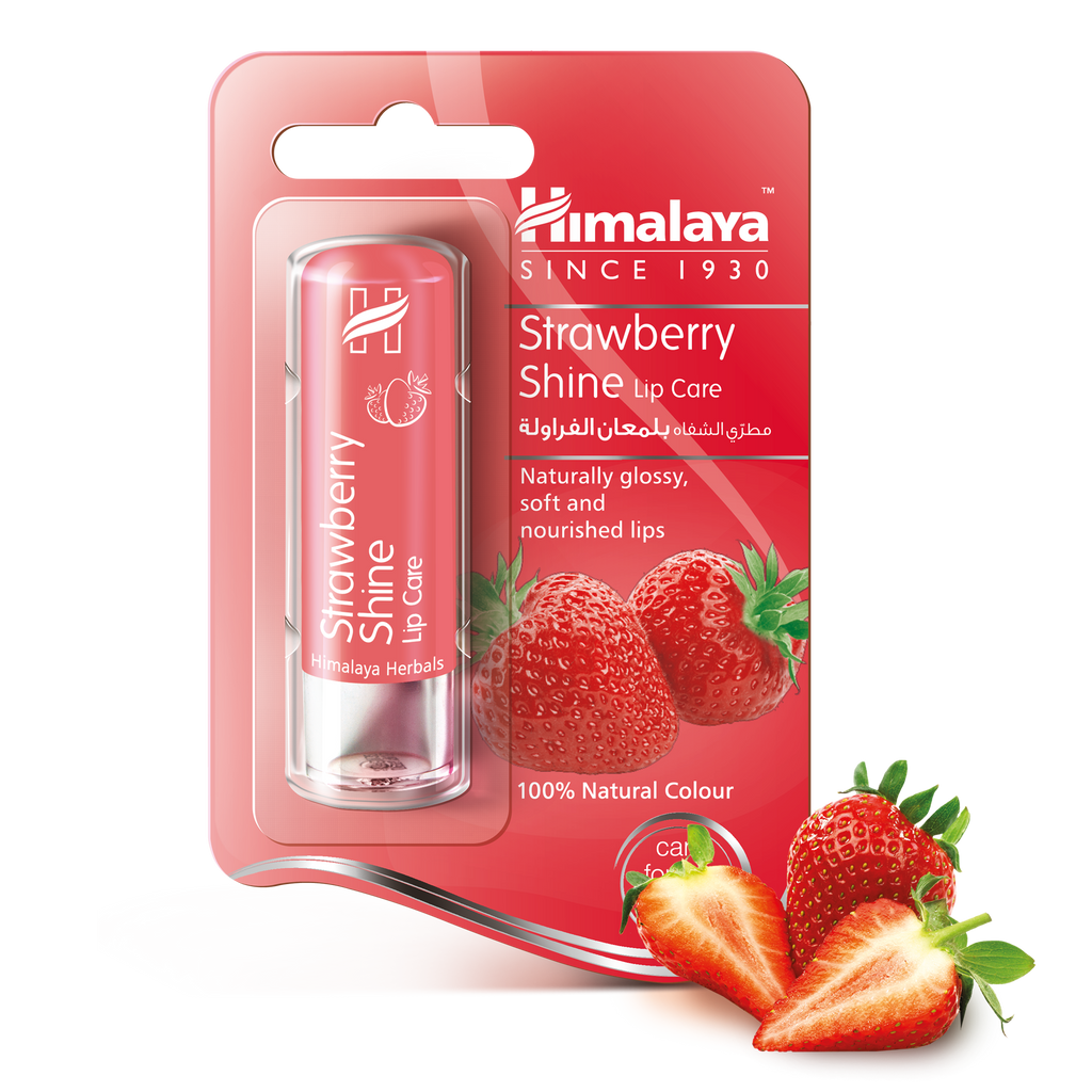 Himalaya Strawberry Shine Lip Balm 4.5g - For Glossy & Soft Lips