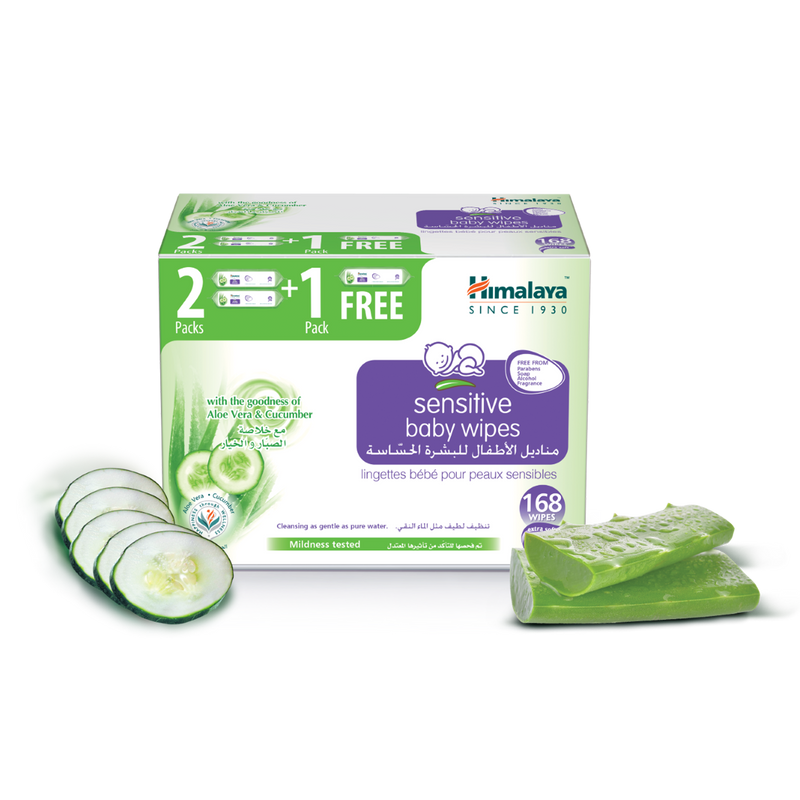 Himalaya Sensitive Baby Wipes 56 Sheets 2+1 Free