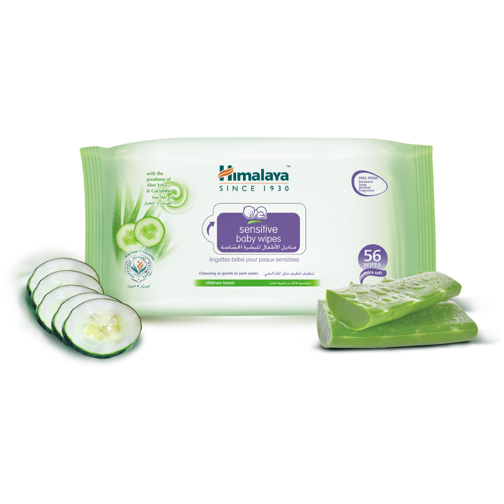 Himalaya Sensitive Baby Wipes Pack of 56 Sheets - Cleanses Skin