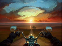 Motorbike Sunset Diy Paint By Numbers Kits VM00214