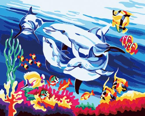 Dolphin Diy Paint By Numbers Kits ZXB726
