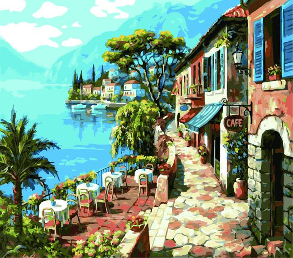 Landscape Seaside Town Diy Paint By Numbers Kits ZXE385-30