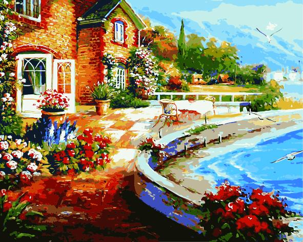 Landscape Seaside Town Diy Paint By Numbers Kits ZXE542-23