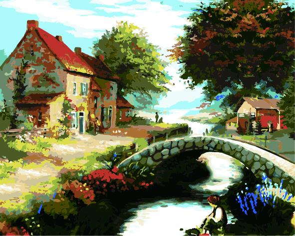 Landscape Cottage Diy Paint By Numbers Kits ZXE588