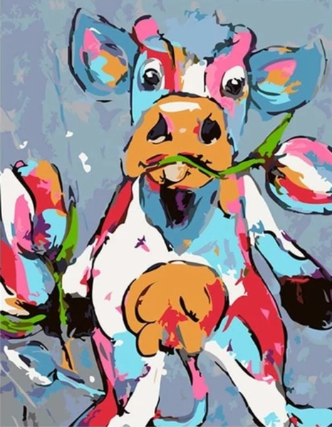 Colorful Cow Diy Paint By Numbers Kits PBN95515