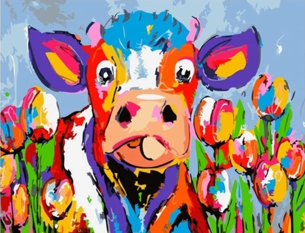 Colorful Cow Diy Paint By Numbers Kits PBN95521