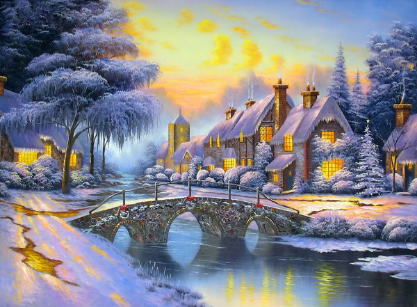 Landscape Snow Village Diy Paint By Numbers Kits PBN91462
