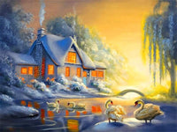 Landscape Snow Village Diy Paint By Numbers Kits PBN91519