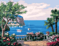 Landscape Seaside Town Diy Paint By Numbers Kits ZXQ1469