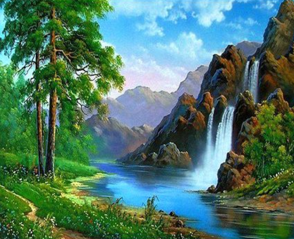 Landscape Waterfall Diy Paint By Numbers Kits ZXQ3734