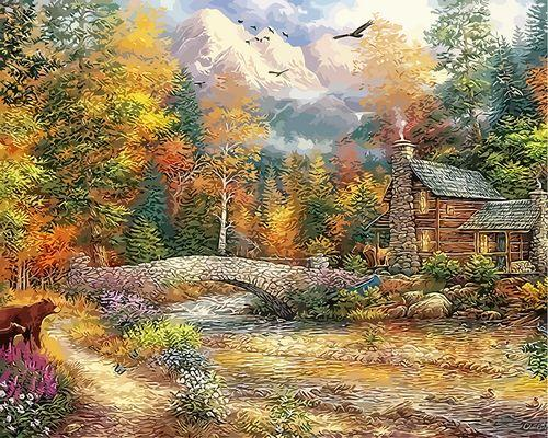 Landscape Cottage Diy Paint By Numbers Kits ZXQ3931