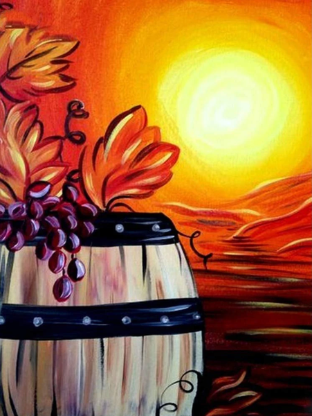 Wine Barrel Grapes Diy Paint By Numbers Kits PBN00206