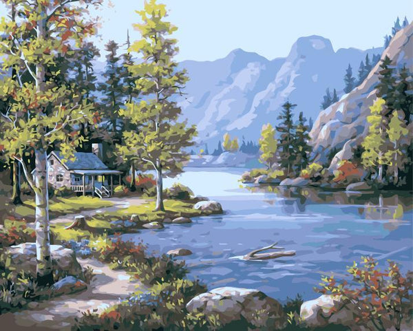 Riverside Cottage Scenery Diy Paint By Numbers Kits SY-4050-013