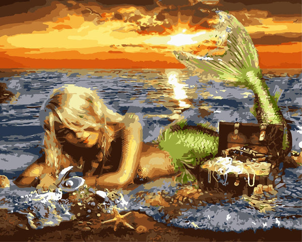 Mermaid Diy Paint By Numbers Kits WM-1547