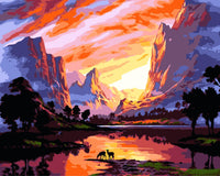 Sunset River Valley Diy Paint By Numbers Kits WM-540