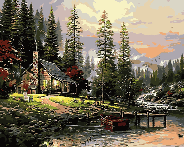 Landscape Quite Lakeside Cottage Diy Paint By Numbers Kits WM-636