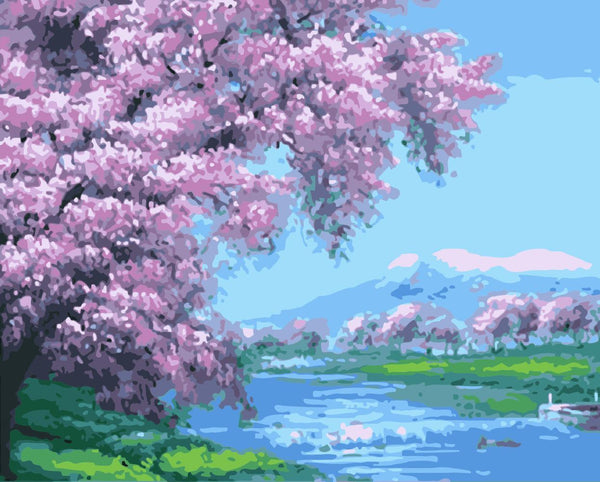 Cherry Blossoms Diy Paint By Numbers Kits WM-904