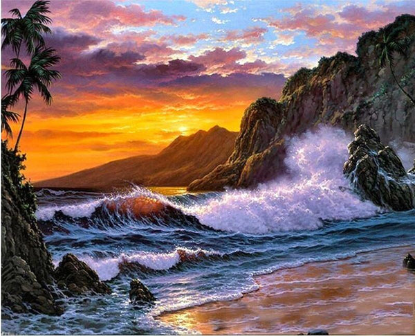 Landscape Nature Waves Rocks Diy Paint By Numbers Kits VM00157