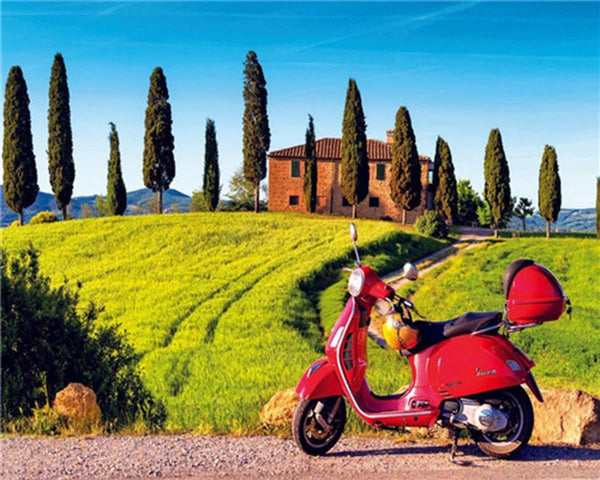 Red Motorbike Summer Farm Diy Paint By Numbers Kits VM00219