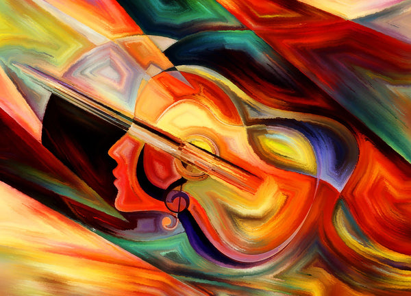 Abstract Guitar Woman Diy Paint By Numbers Kits PBN92627