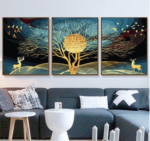 3PCS Multi Panel Tree Diy Paint By Numbers Kits PBN94321