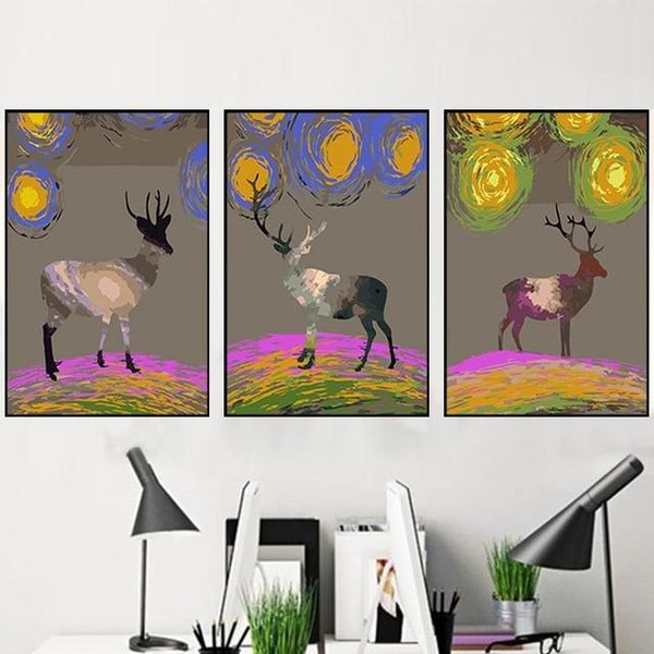 3X Multi Panel Deer Diy Paint By Numbers Kits PBN91763