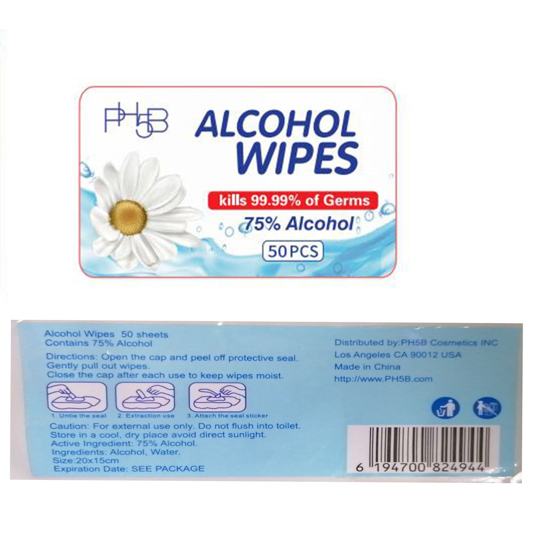 PH5B Alcohol Wipes 50 count
