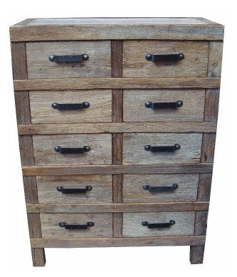 Industrial Iron Large Chest of Drawers-Recycled Timber