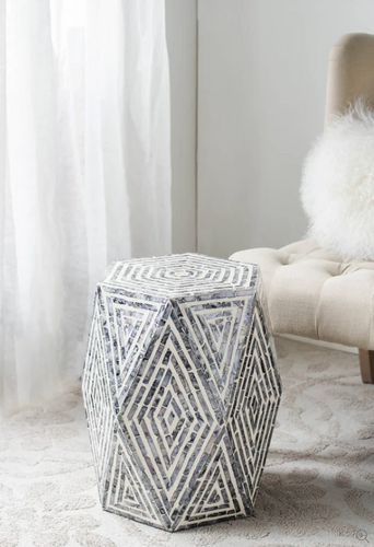 Capiz Hexagonal Side Table