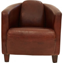 Load image into Gallery viewer, Aged Leather Tub Chair