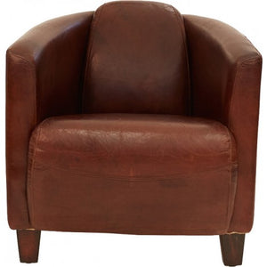 Aged Leather Tub Chair