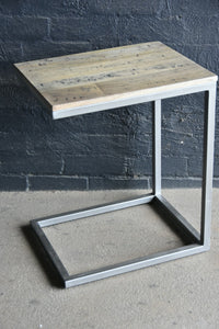 Side Table-'C' Timber and Metal.