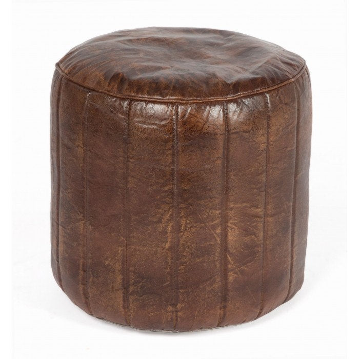 Round Leather Pouffe