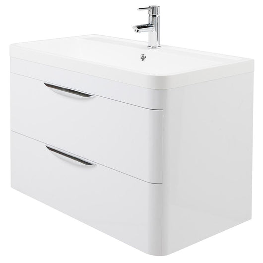 Pride 800mm Wall Hung 2-Drawer Basin Vanity Unit - Alpine White - welovecouk