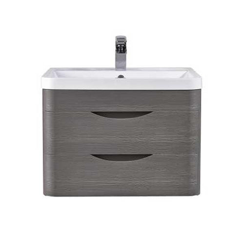 Solar 600mm Wall Hung 2-Drawer Basin Vanity Unit - Midnight Grey