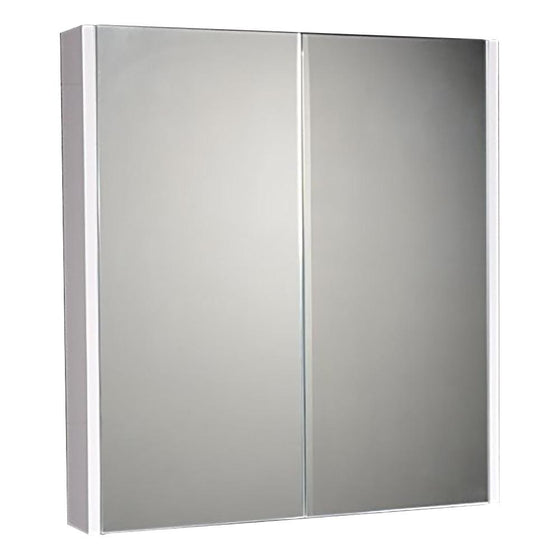 600mm 2-Door Wall Mounted Mirrored Cabinet - White - welovecouk