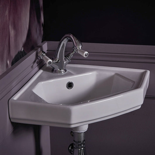 Bayswater Traditional White Mono Basin Mixer Tap with Waste - welovecouk