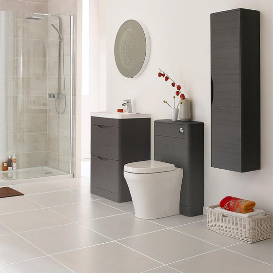 Solar 800mm Floorstanding Basin Vanity Unit - Midnight Grey - welovecouk