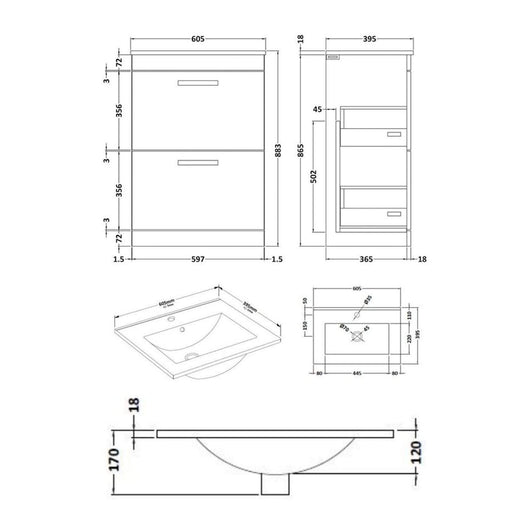 Mantello 1100mm Vanity Drawer & WC Set with Square Pan - Gloss Grey
