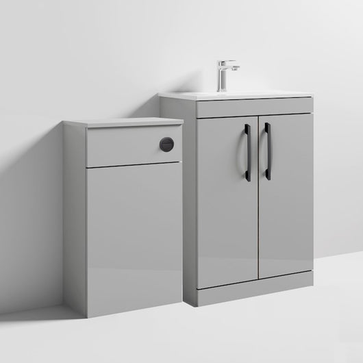 Mantello Black 1100mm Vanity & WC Set with Round Pan - Gloss Grey Mist