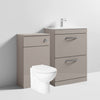 Mantello 1100mm Vanity Drawer & WC Set with Round Toilet - Stone Grey