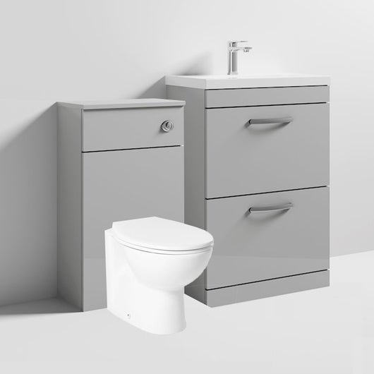 Mantello 1100mm Vanity Drawer & WC Set with Round Toilet - Gloss Grey Mist