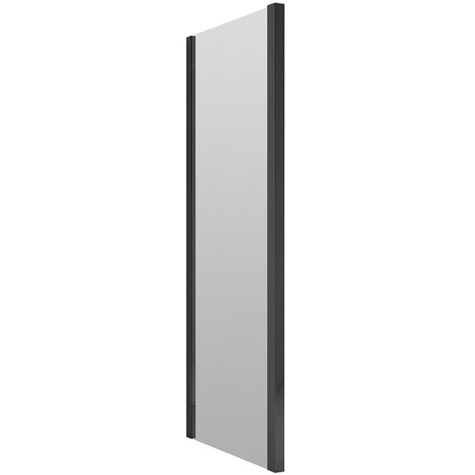 ShowerWorx Atlantic Matt Black 900mm Side Panel - 6mm Glass