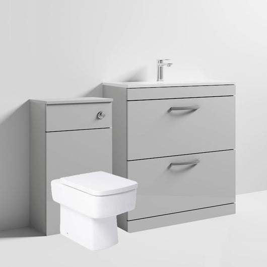 Mantello 1300mm Vanity & WC Set with Square Pan - Gloss Grey Mist