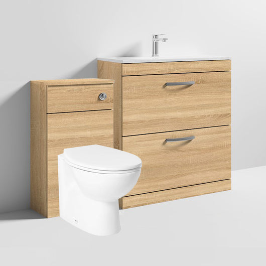 Mantello 1300mm Vanity & WC Set with Round Pan - Natural Oak