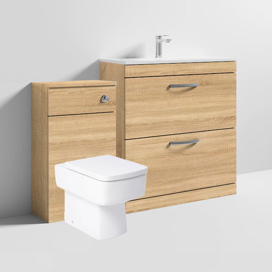 Mantello 1300mm Vanity & WC Set with Square Pan - Natural Oak