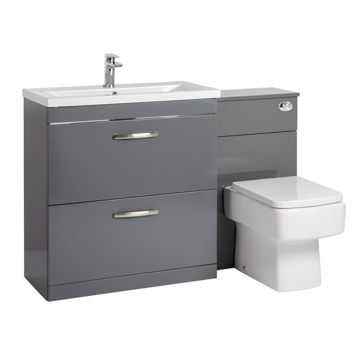 Mantello 1300mm Vanity & WC Set with Square Pan - Gloss Grey