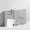 Mantello Black 1300mm Vanity Drawer & WC Set with Round Pan - Gloss Grey Mist