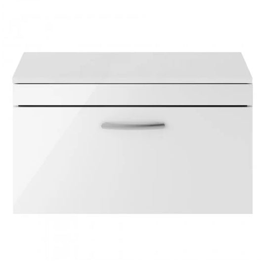 Mantello 800mm Wall Hung 1-Drawer Countertop Vanity Unit - Gloss White